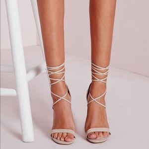 NASTY GAL Clear Chunky Heel Nude Wrap Up Heels